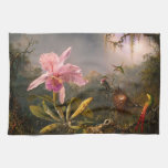Pink Orchid and Three Hummingbirds Kitchen Towel