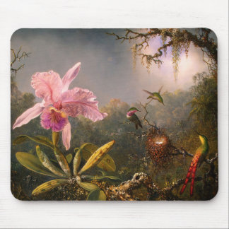 Pink Orchid and Three Hummingbirds Mouse Pad