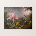 """Pink Orchid and Three Hummingbirds Puzzle<br><div class=""""desc"""">Pink Orchid and Three Hummingbirds puzzle. Oil on mahogany panel from 1871. Martin Johnson Heade was an American landscape and naturalist painter who frequently depicted birds and flowers. Orchids and hummingbirds were some of his favorite subjects, and this painting stands as one of his most beautiful. Cattleya Orchid and Three...</div>"""