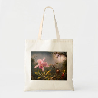 Pink Orchid and Three Hummingbirds Tote Bag