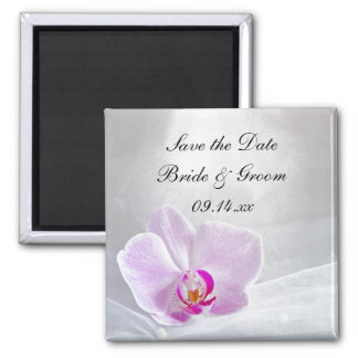 Pink Orchid and Veil Wedding Save the Date Magnet