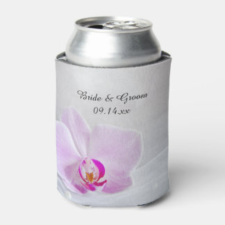 Pink Orchid and White Bridal Veil Wedding Favor Can Cooler