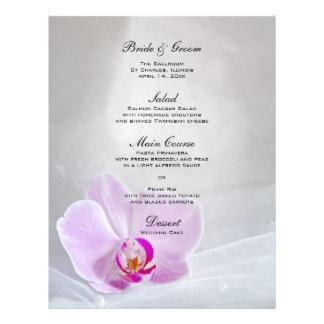 Pink Orchid and White Bridal Veil Wedding Menu