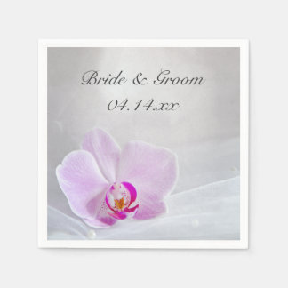 Pink Orchid and White Bridal Veil Wedding Napkin