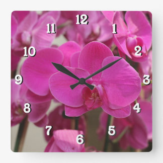 Pink Orchid blooms Square Wall Clock