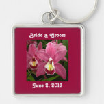 Pink Orchid Bride & Groom Keychain