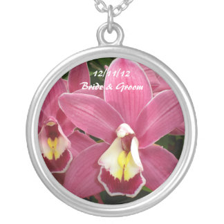 Pink Orchid Bride & Groom Necklace