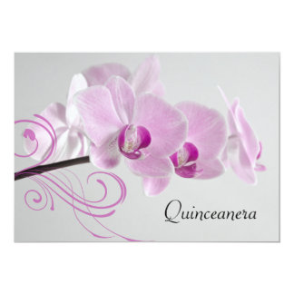 "Pink Orchid Elegance Quinceanera Invitation 5"" X 7"" Invitation Card"