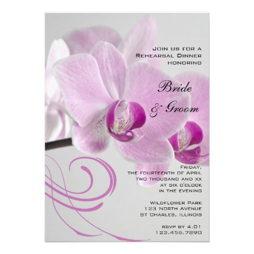 Pink Orchid Elegance Wedding Rehearsal Dinner Personalized Invite