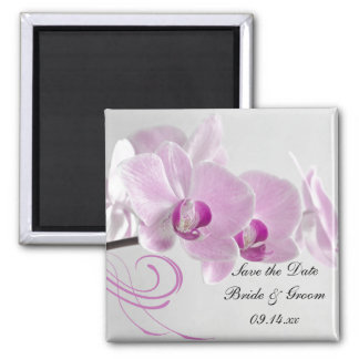 Pink Orchid Elegance Wedding Save the Date Magnet