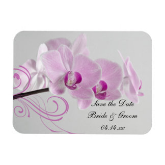 Pink Orchid Elegance Wedding Save the Date Rectangular Photo Magnet