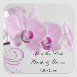 Pink Orchid Elegance Wedding Save the Date Square Sticker