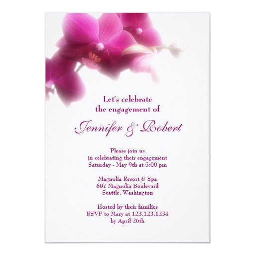 Pink Orchid Engagement Invitation