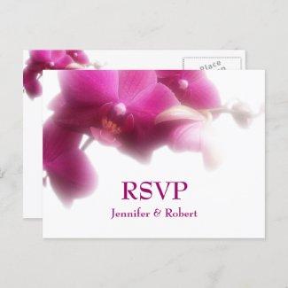 Pink Orchid Floral Wedding RSVP Invitation Postcard