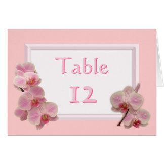 Pink Orchid Floral Wedding Table Number Cards