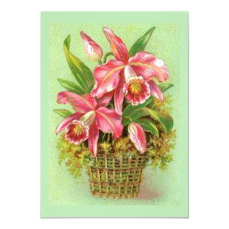 Pink Orchid Flower 5x7 Paper Invitation Card