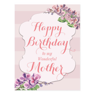 Pink Orchid Flower Frame Mother Birthday Postcard