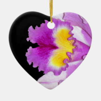 Pink Orchid flower Double-Sided Heart Ceramic Christmas Ornament