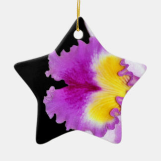 Pink Orchid flower Double-Sided Star Ceramic Christmas Ornament
