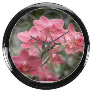 Pink Orchid flowers Aquarium Clocks