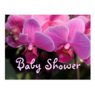 Pink  orchid flowers baby shower invitation postcards