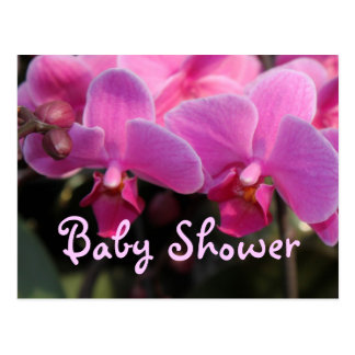 Pink  orchid flowers baby shower invitation postcard