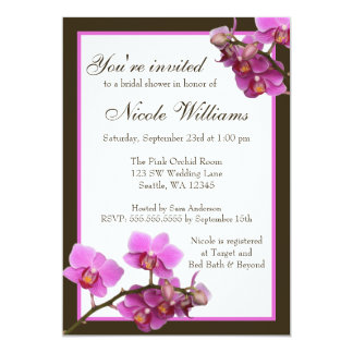 Pink Orchid Flowers Bridal Shower 5x7 Paper Invitation Card