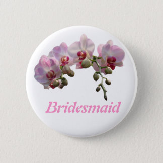 pink orchid flowers brideamaid wedding button