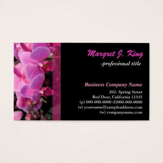 pink orchid flowers business card