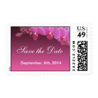 pink orchid flowers save the date postage stamps