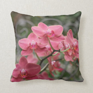 Pink Orchid flowers Throw Pillow