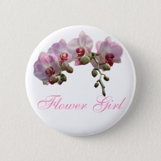 pink orchid flowers wedding button