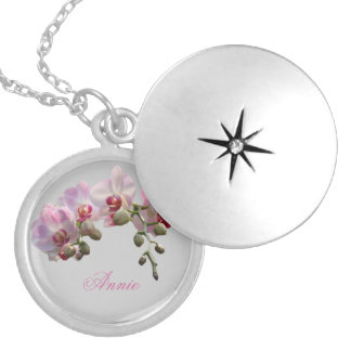 pink orchid flowers with name silver necklace