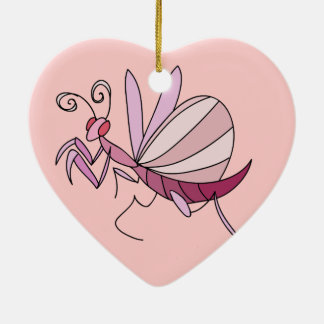 Pink Orchid Mantis Double-Sided Heart Ceramic Christmas Ornament