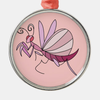 Pink Orchid Mantis Metal Ornament
