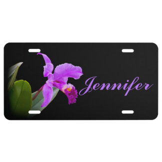 Pink Orchid on Black Customizable Name License Plate