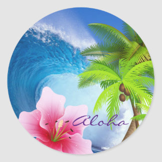 Pink Orchid, Palm Tree, Ocean Wave - Sticker