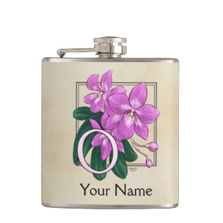 Pink Orchid Personalized Floral Monogram Flask