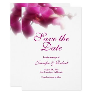 Pink Orchid Save the Date Announcement