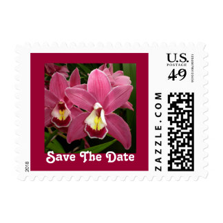Pink Orchid Save The Date Postage