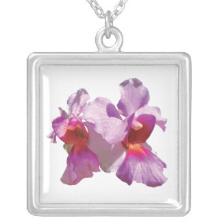 Pink Orchid Square Pendant Necklace