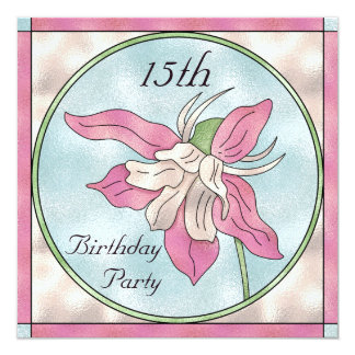 Pink Orchid Stain Glass Effect 15th Birthday Card