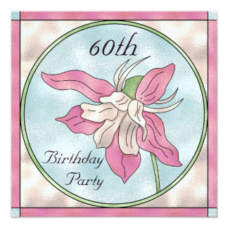 """Pink Orchid Stain Glass Effect 60th Birthday 5.25"""" Square Invitation Card"""
