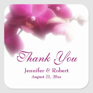 Pink Orchid Thank You Sticker