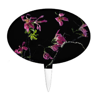 pink orchid tree branches black cake topper