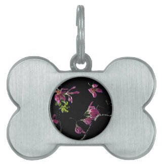 pink orchid tree branches black pet name tags