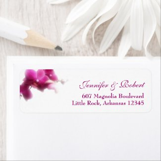 Pink Orchid Wedding Address Return Label