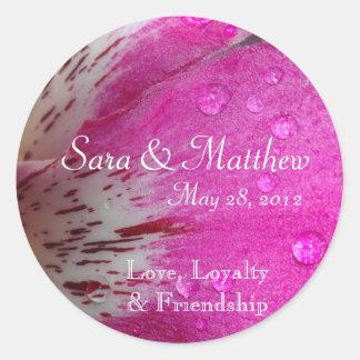Pink Orchid Wedding Date Sticker