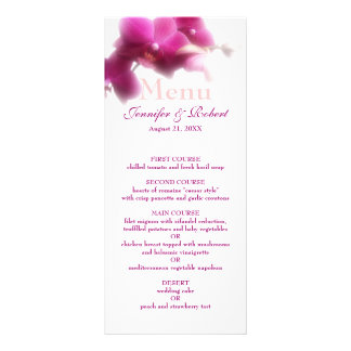Pink Orchid Wedding Menu (Rack Card) Rack Card Template