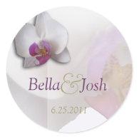 Pink Orchid Wedding Sticker